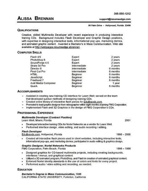 Computer Basics Resume