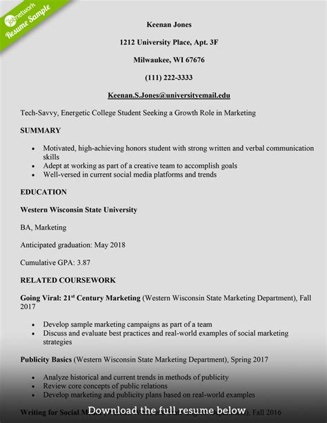 resume help for college students student resume sample
