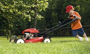 Image result for photos of kids pushing a lawnmower