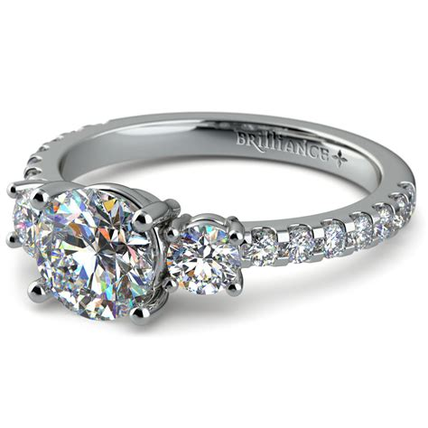 three stone moissanite engagement ring in white gold mm