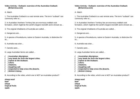movie worksheet outback overview of the australian outback