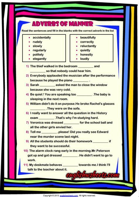 adverbs of manner esl grammar exercise worksheet adverbs