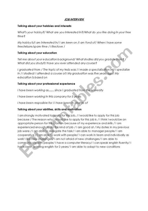 english worksheets job interview vocabulary