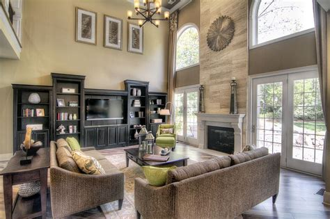 two story great room with stunning fireplace dream home