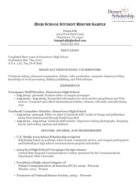 HIGH SCHOOL STUDENT RESUME TEMPLATE FREE TEMPLATES IN