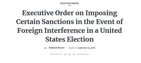 Image result for President Trump's Executive Order from 2018 Covering Interference in US Elections By Foreign Entities Looks Relevant Today