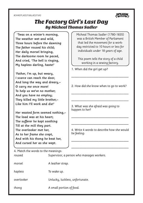first fleet the factory girl s last day worksheet first