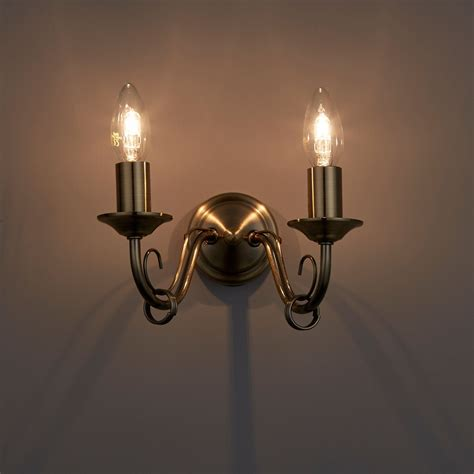 priory brass effect double wall light departments diy