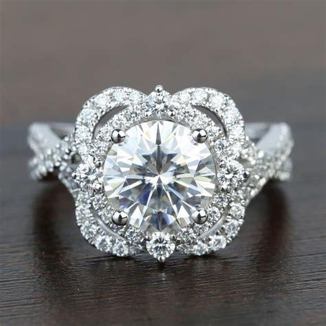 double halo designer moissanite diamond engagement ring