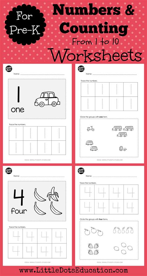 pre k numbers to worksheets and activities
