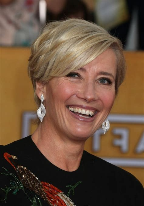 emma thompson layered razor cut with bangs for women over