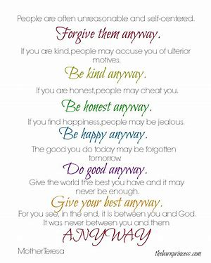 Image result for Mother Teresa Quotes Any Way