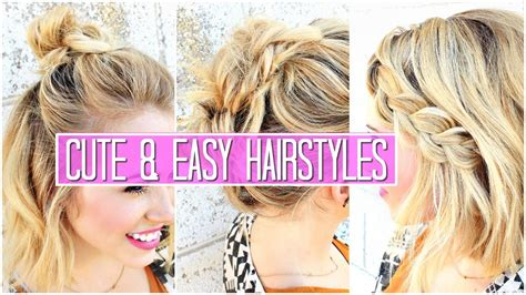 EASY HAIRSTYLES FOR SHORT MEDIUM HAIR TUTORIAL CUTE