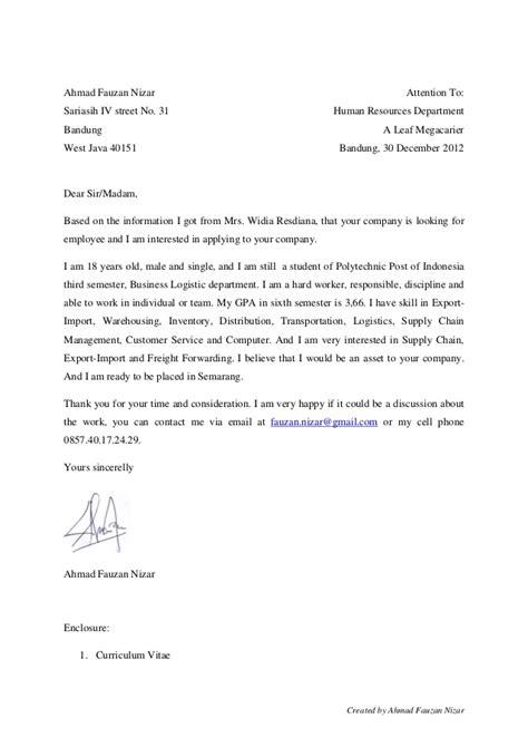 JOB APPLICATION LETTER SURAT LAMARAN KERJA