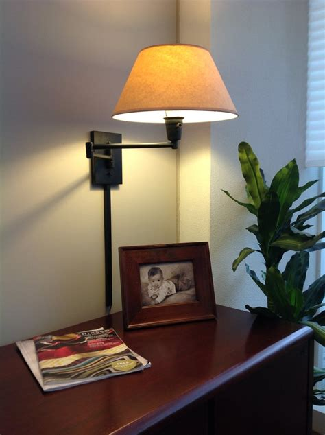 swing arm wall lamp mounted bedside led with white lamps