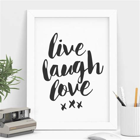 live laugh love black and white typography print by the