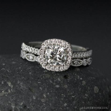 halo cushion cut moissanite engagement ring forever