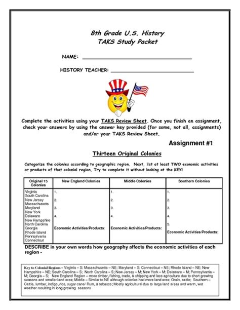 th grade u s history task study packet worksheet for th