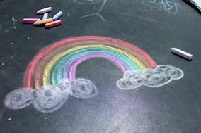 Image result for rainbow chalk pavement