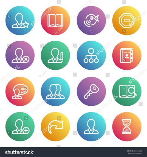 users flat contour icons on color stickers stock vector