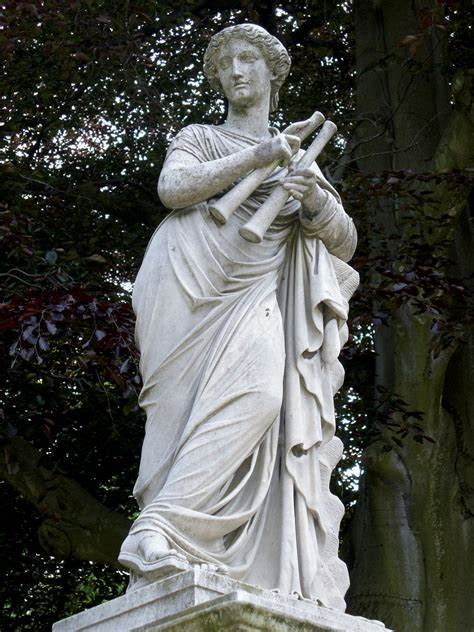 A statue of Euterpe, with her double flute.