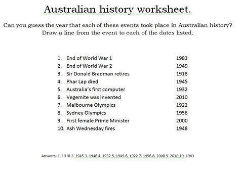 australian timeline free printable kids activities