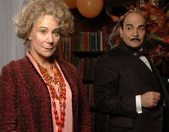 Image result for poirot and ariadne oliver in halloween party