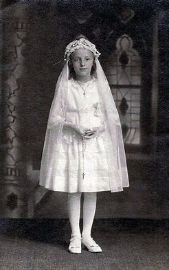 Image result for images little girls receiving first communion fifties