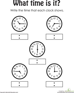 telling the time worksheet education com