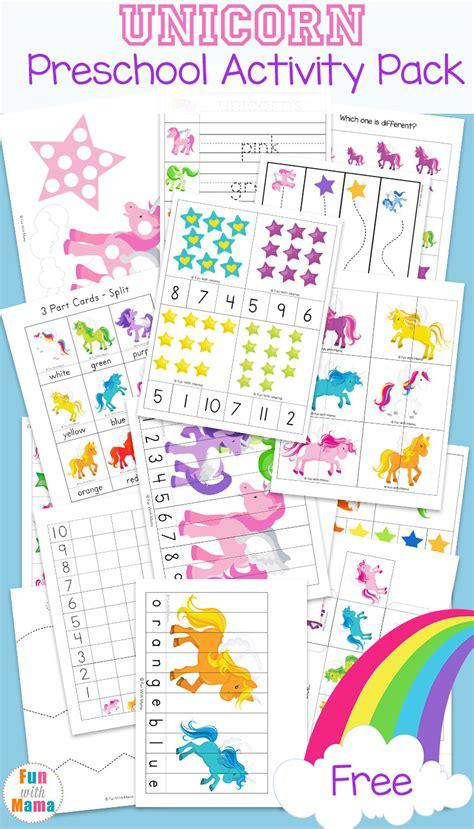 unicorn preschool activity pack fun with mama