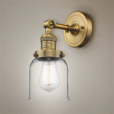 small bell high brushed brass adjustable wall sconce