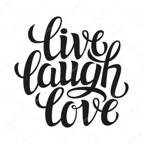 hand drawn typography poster live laugh love stock