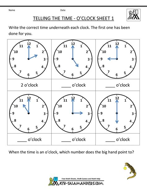 telling time worksheets o clock and half past nd
