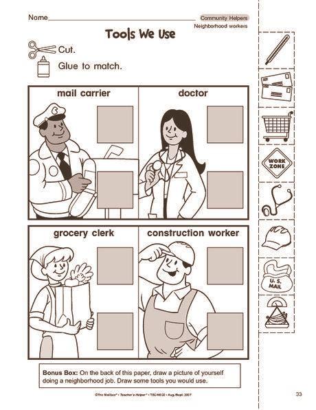 community helpers cut paste worksheet classroom
