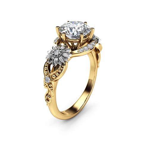 sunflower moissanite engagement ring k two tone gold