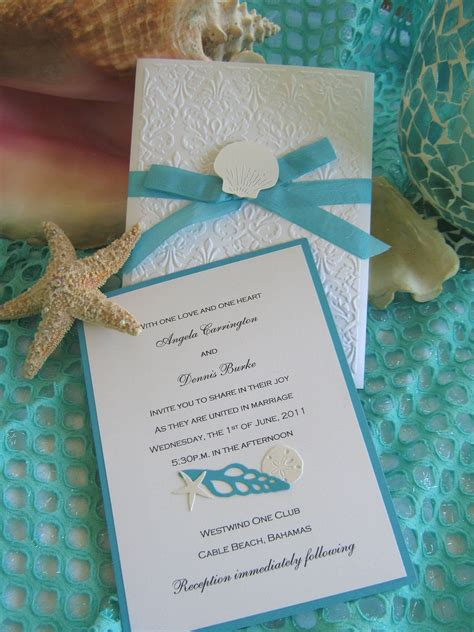seashell and lace beach wedding invitation in