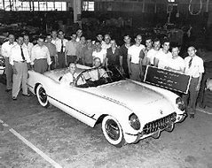 Image result for 1953 - The first Corvette rolled off the Chevrolet assembly line