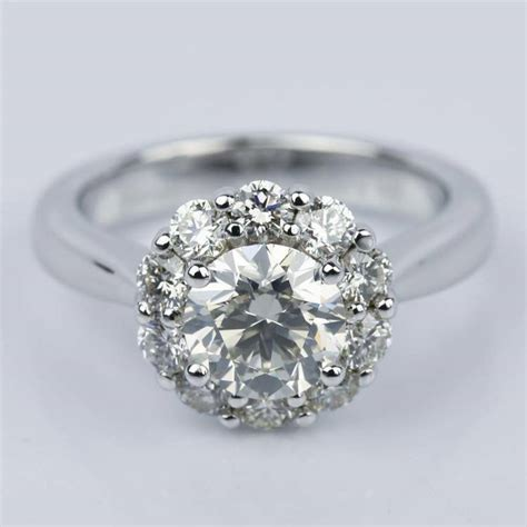 floral halo diamond engagement ring in white gold ct