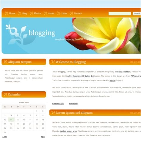 blogging free website templates in css html js format