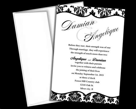 wedding invitation template black and white damask blank