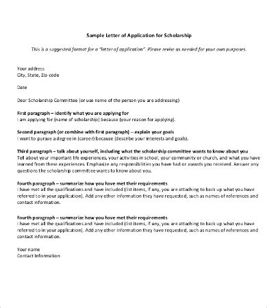 EXAMPLE OF A APPLICATION LETTER FOR SCHOLARSHIP FORMATTING
