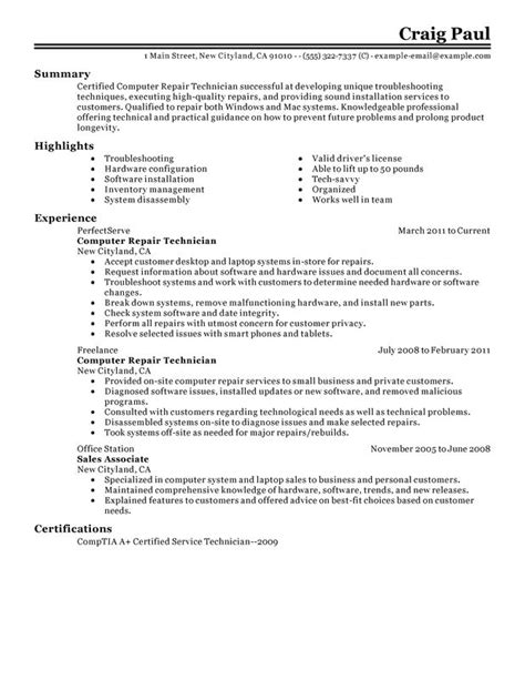 COMPUTER REPAIR TECHNICIAN RESUME EXAMPLES CREATED BY