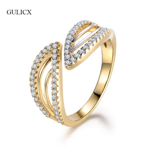 gulicx new design wedding rings for women gold color