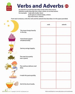 all about adverbs verbs and adverbs worksheet