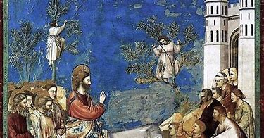 Image result for images jesus on ass riding to jerusalem renaissance painting