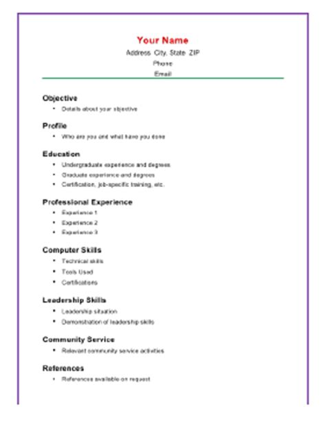 BASIC ACADEMIC RESUME A TEMPLATE