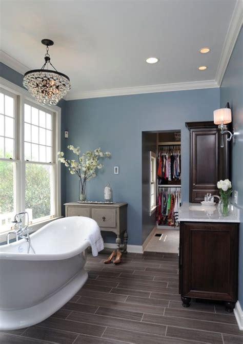 grey wood floors blue walls white trim basement
