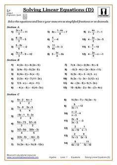 solving equations maths worksheet solving equations