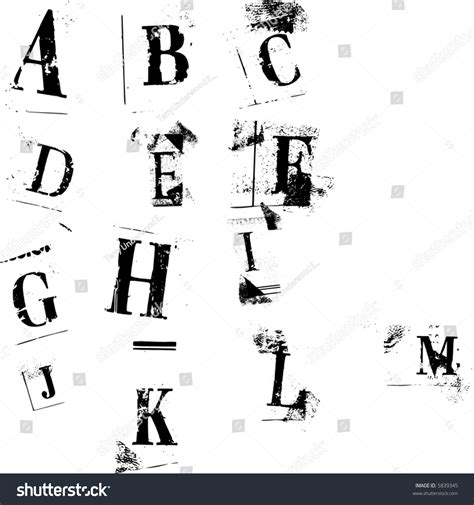 newspaper cutout styled letters easily editable stock