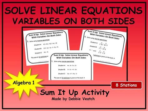 solve linear equations with variables on both sides sum it